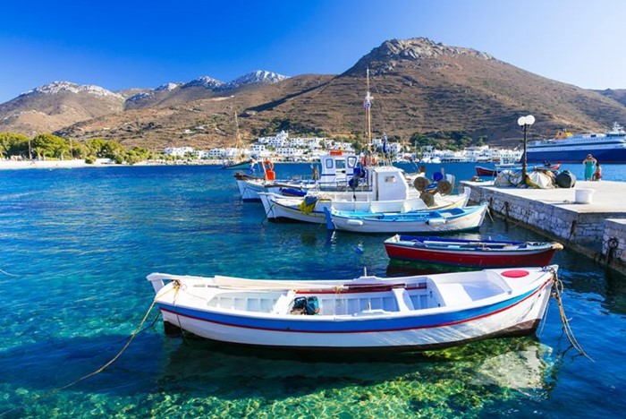 traditonal fishing boats in Katapola port, Amorgos island, Greece