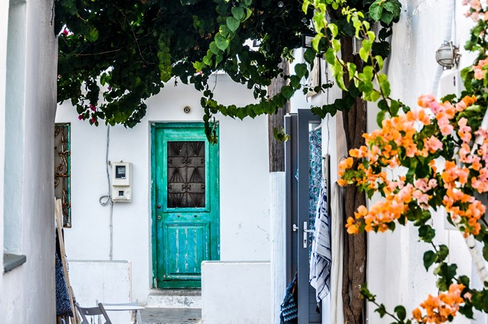 Greek island village architecture