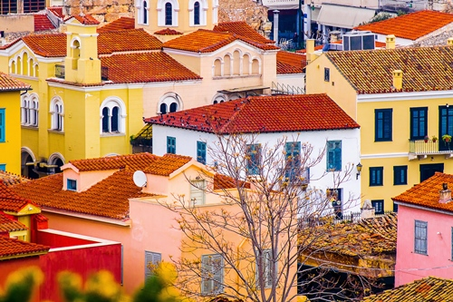 Colourful houses in Athens