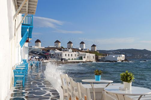 Mykonos port taverna with view