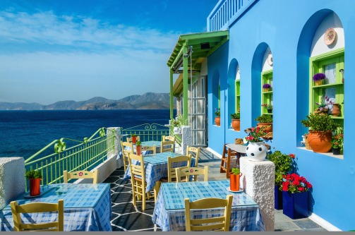 Typical colorful Greek restaurant Crete