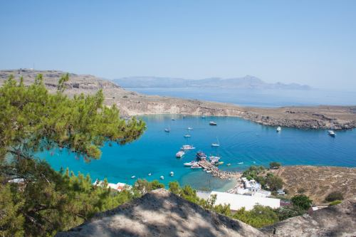 view of lindos harbor from acropolis on rhodes island