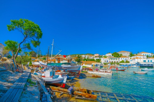 the old port of Spetses island in Greece