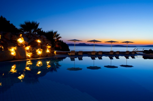 Grand Hotel Mykonos pool at night