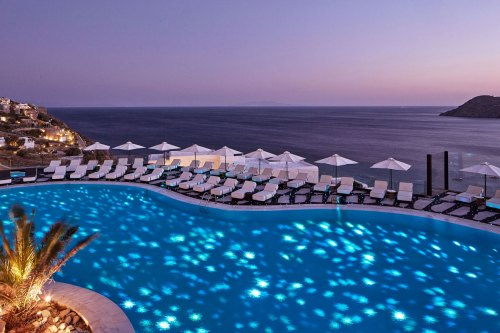 Hotel Royal Mykonian pool at night