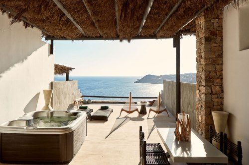 Myconian Utopia terrace with jacuzzi