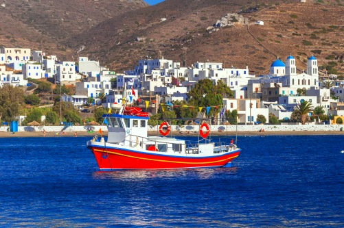 traditonal fishing boats in Katapola port, Amorgos island, Greec