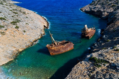 aerial view of Shipwreck Olympia in Amorgos island, Cyclades, Gr
