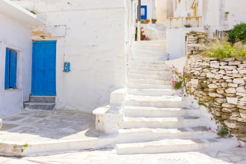 traditional street in Tinos Island,Greece