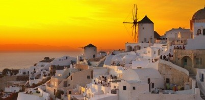windmill of Oia at sunset