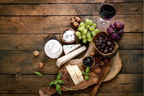 cheese and wine in Greece