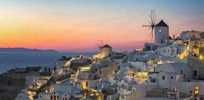 Santorini sunset in Greece
