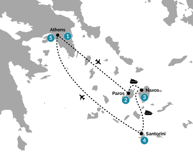 Sea & Sand in the Cyclades 12 Day Family Journey Map