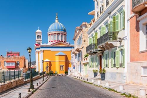 Ermoupoli town, Syros Island, Greece.