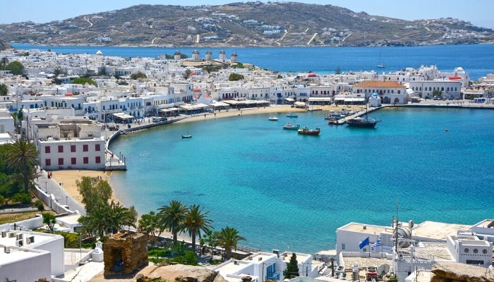 Mykonos town and windmills