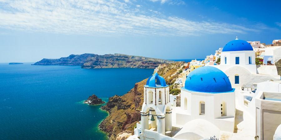 White church in Oia town on Santorini island in Greece