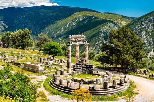 Temple of Athena Pronaia at Delphi in Greece