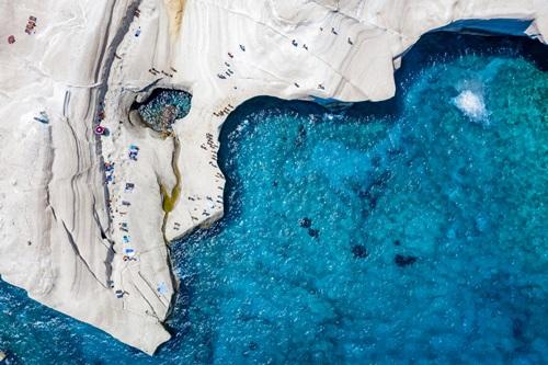 The chalk rock formations of Sarakiniko, Milos island, Cyclades, Greece