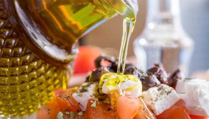 Preparing Greek salad