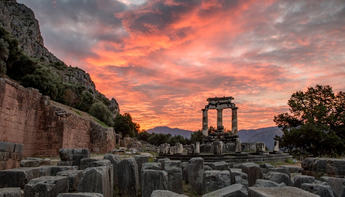 Sunset over Delphi ruins