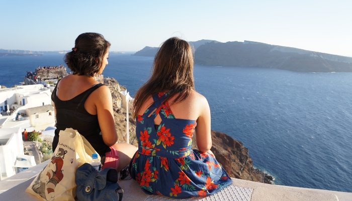 Tourists looking out to sea in Santorini